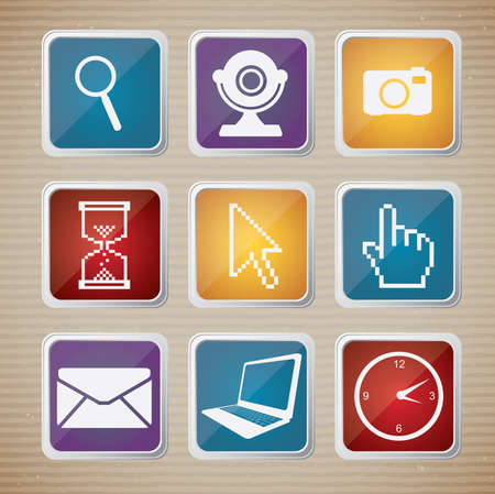 Illustration icon set of computers and networks Vector