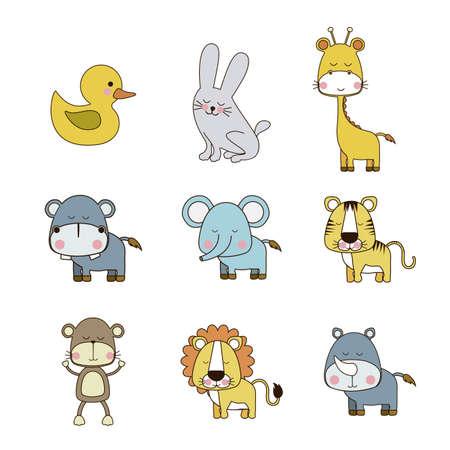 small group of animal: animals icons over white background vector illustration  Illustration