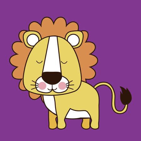 leon caricatura: leon dise�o sobre fondo morado ilustraci�n vectorial