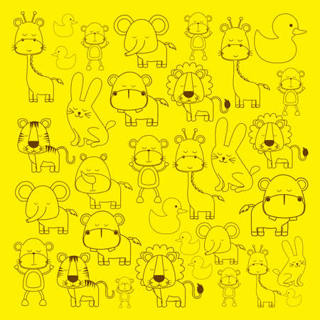animals icons over yellow background vector illustration  Vector
