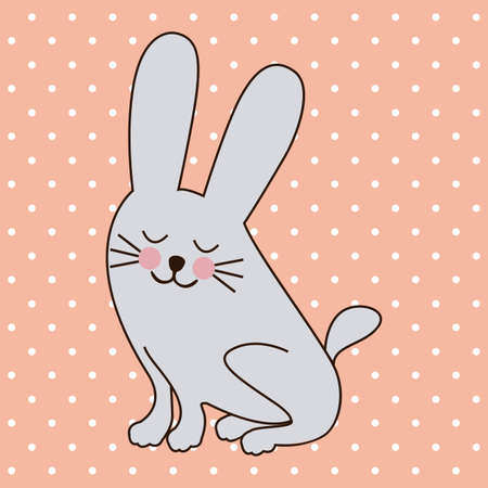 rabbit design over dotted background vector illustration  Vector