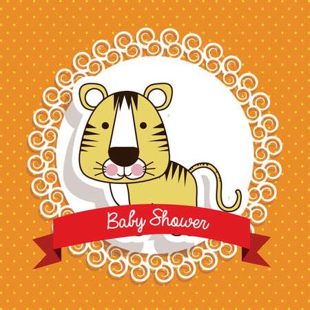 baby shower design over dotted background vector illustration  Vector