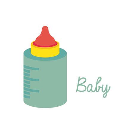 bottle baby over white background vector illustration