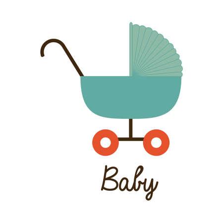 cart baby over white background vector illustration  Ilustração