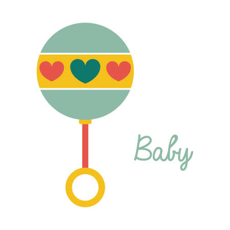 baby rattle over white background vector illustration  Illustration