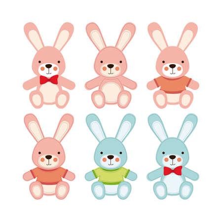 whithe: Iconos de conejo sobre fondo whithe ilustraci�n vectorial