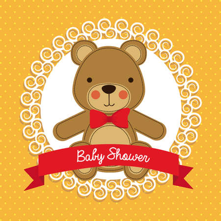 baby animals: baby shower design over dotted background vector illustration