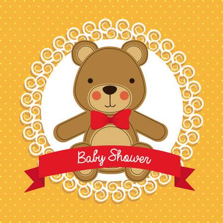 animalitos tiernos: diseño de la ducha del bebé sobre fondo punteado ilustración vectorial Vectores