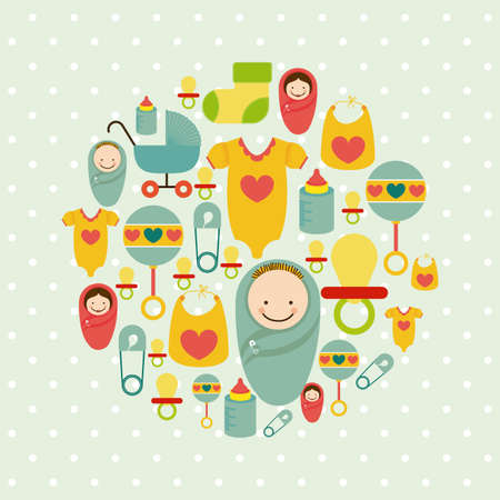 message in a bottle: baby shower icons over dotted background vector illustration