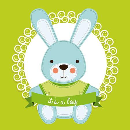boy design over green bakground vector illustration