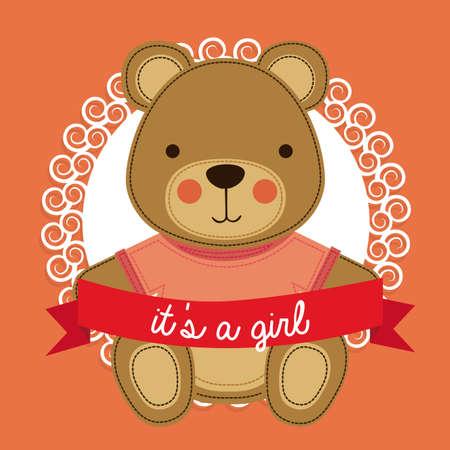 girl design over pink bakground vector illustration  Ilustração
