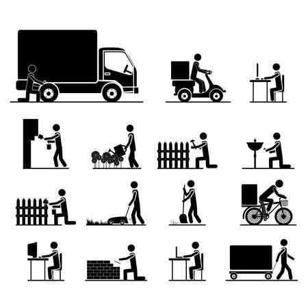 Arbeitsplätze Symbole auf weißem Hintergrund Vektor-Illustration Standard-Bild - 21876595