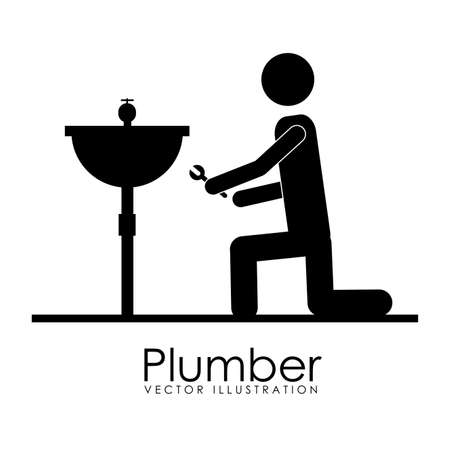 plumber icon over white background vector illustration Vector