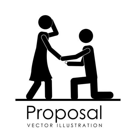propose: proposal design over white background vector illustration