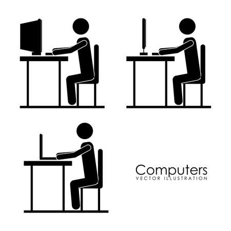labourers: computers design over white background vector illustration