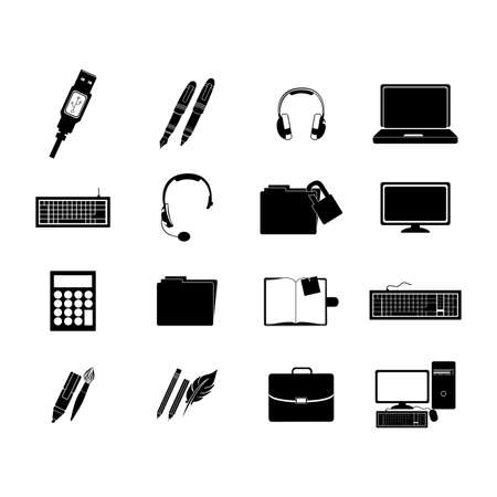 usb various: office icons over white background vector illustration