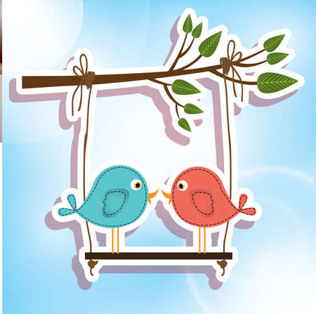 inlove: love birds over sky background vector illustration