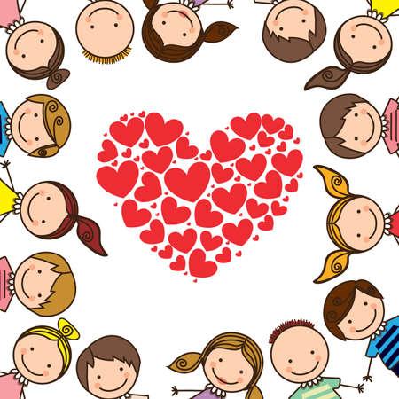 kids love over white background vector illustration   Stock Vector - 21876641
