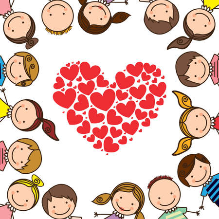 genders: kids love over white background vector illustration   Illustration