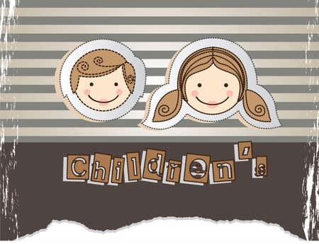 camaraderie: children design over lineal background vector illustration Illustration