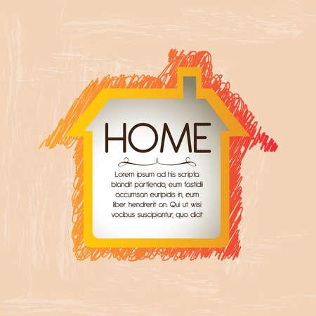 realstate: home design over pink  background vector illustration