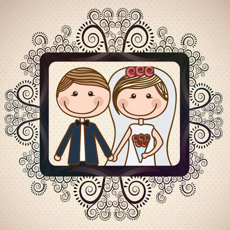 newlyweds: wedding design over vintage background  vector illustration