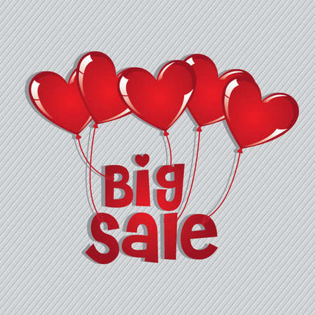 big sale with hearts balloons isolated over beige background. vector illustration  Vector