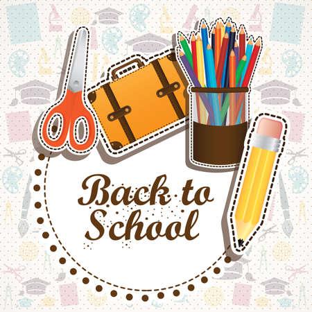 calendario escolar: de vuelta a la escuela de dise�o sobre fondo escolar suplies ilustraci�n vectorial