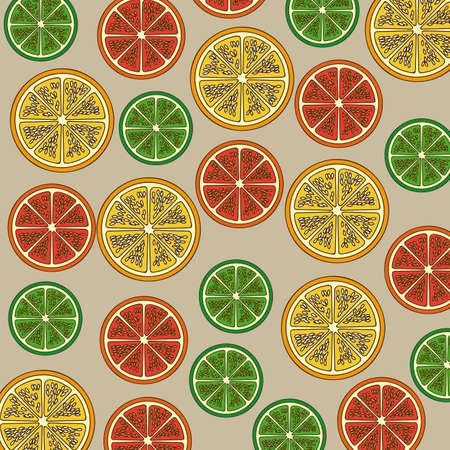 citrus fruit over beige background vector illustration Stock Vector - 22067132