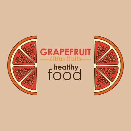 drinkseal: grapefruit citrus fruit  over white background vector illustration