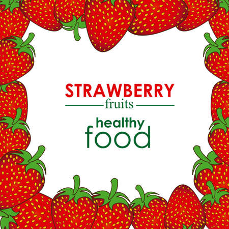 strawberry design over white background vector illustration  Vector