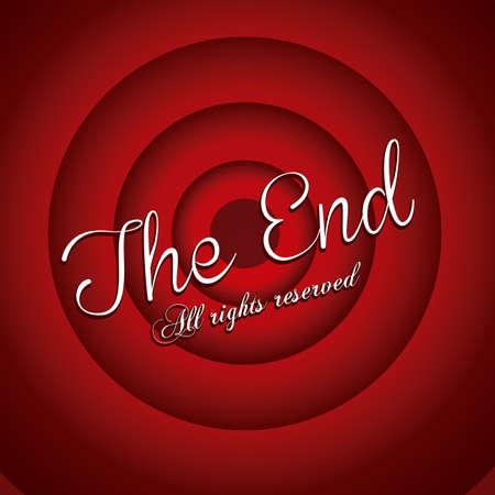 the end label over red wine background vector illustration Vector