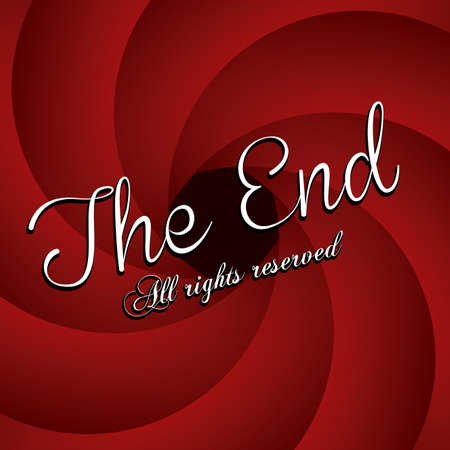the end label over red wine background vector illustration Stock Vector - 22067170