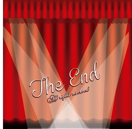 the end label over red wine background vector illustration Stock Vector - 22067173