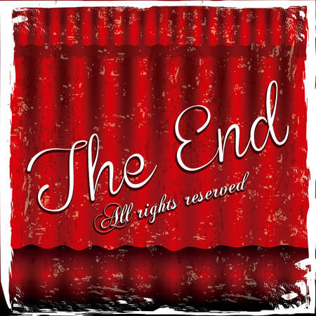 the end label over red wine background vector illustration Stock Vector - 22067176