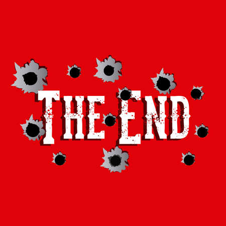 the end label over red background vector illustration Stock Vector - 22067179