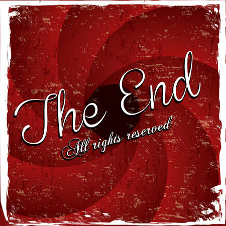 the end label over red wine background vector illustration Stock Vector - 22067202