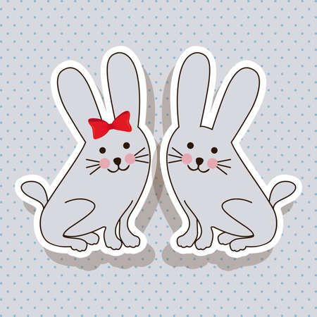rabbits design over dotted background vector illustration   Vector