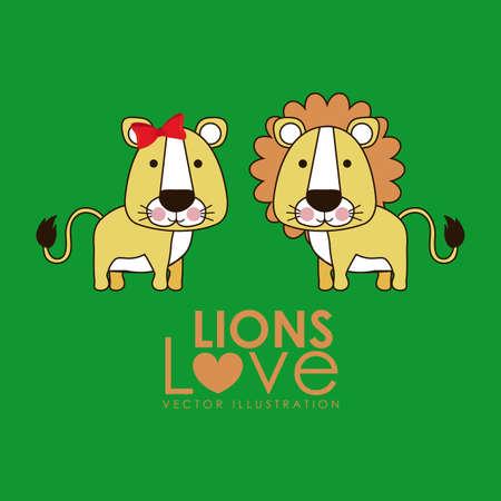 leon de dibujos animados: leon diseño sobre fondo verde ilustración vectorial