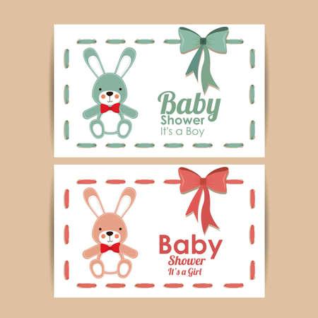 baby shower design over pink bakground vector illustration