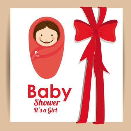 baby shower design over pink background vector illustration