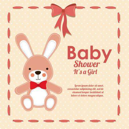 baby shower design over dotted bakground vector illustration   Ilustração