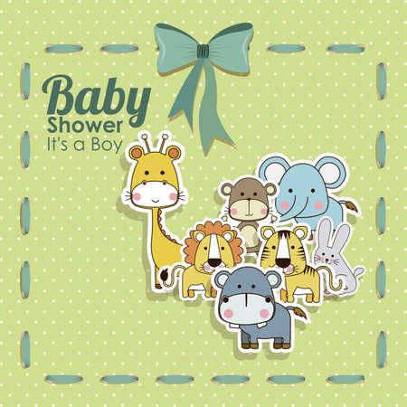 schattige dieren cartoon: baby shower dieren pictogrammen op gestippelde achtergrond vector illustratie
