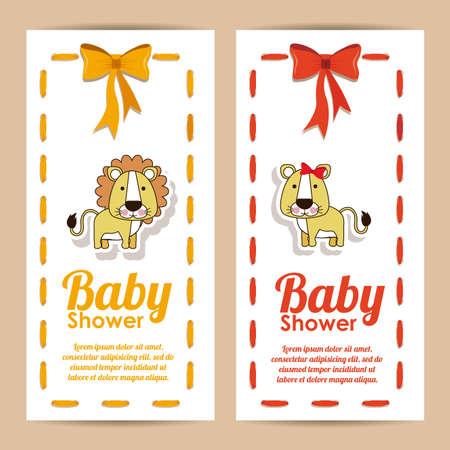 baby shower design over pink background vector illustration  Vector