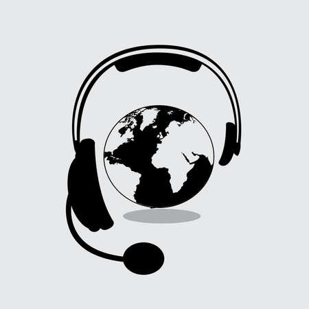 call center agent: headset design over gray background vector illustration