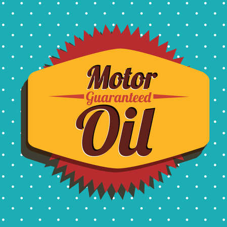 motor oil label over dotted background vector illustration Vector