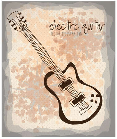 electric guitar icon over pattern background vector illustration  Vector