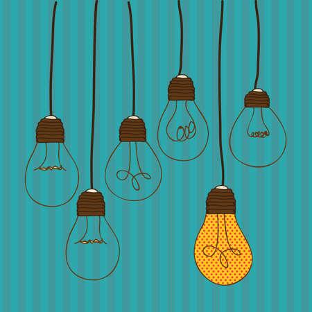 lightbulb idea: lampade di design su sfondo blu illustrazione vettoriale