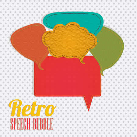retro  bubbles over dotted background vector illustration   Vector
