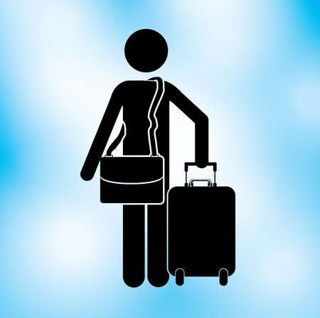packing suitcase: progettazione viaggiatore su sfondo blu illustrazione vettoriale